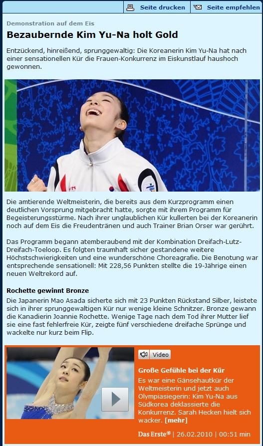 김연아, 올림픽 당시 독일 사이트 기사