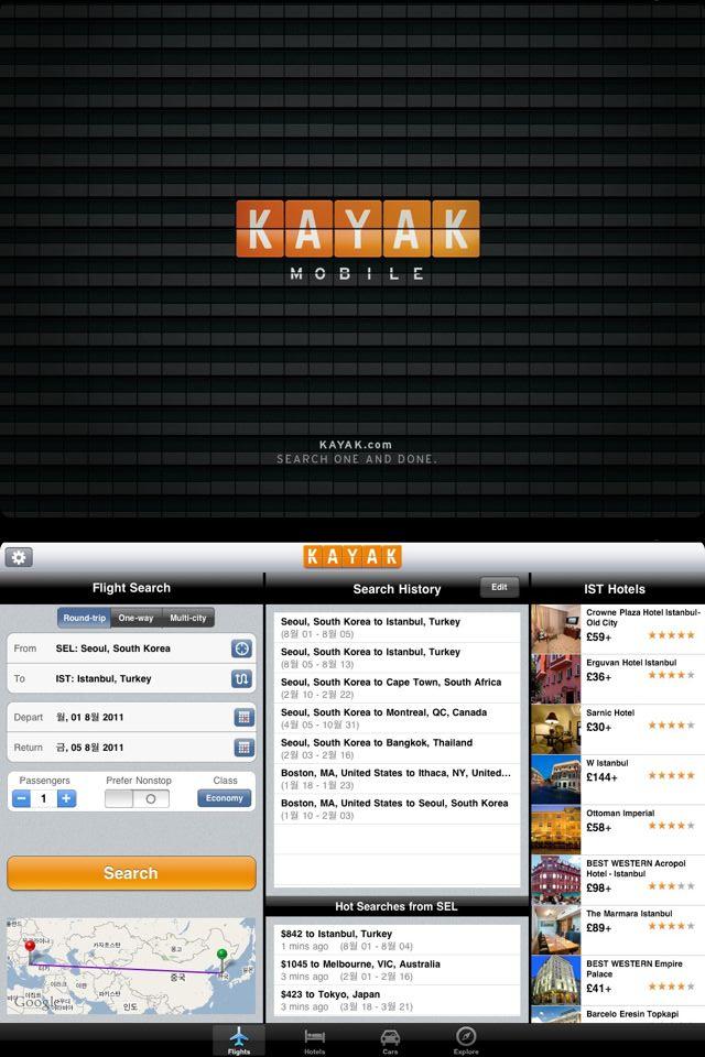 원스탑 해외 여행 정보 검색 서비스 KAYAK HD - Fli..