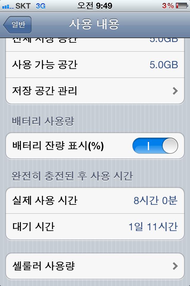 아이폰4S 배터리 사용량...내 폰이 변강쇠인건가?