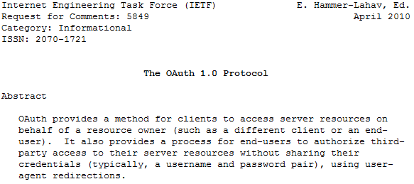 OAuth 1.0 Specification / RFC 5849