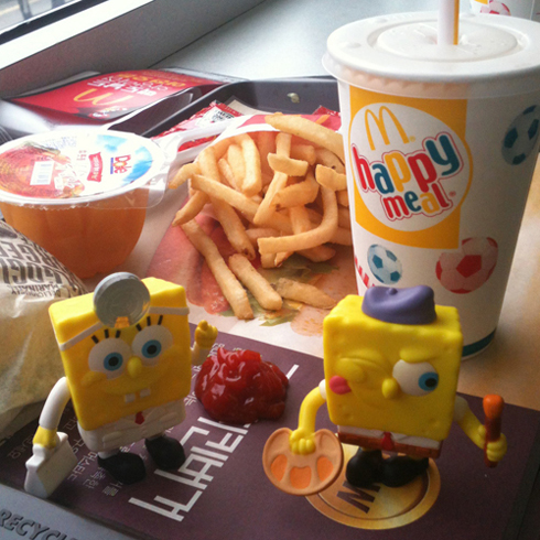 Happy Meal toys: SpongeBob & Smurf