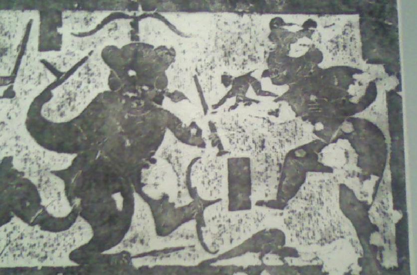 한나라 화상석에서 비파형동검 그림이 발견되다.