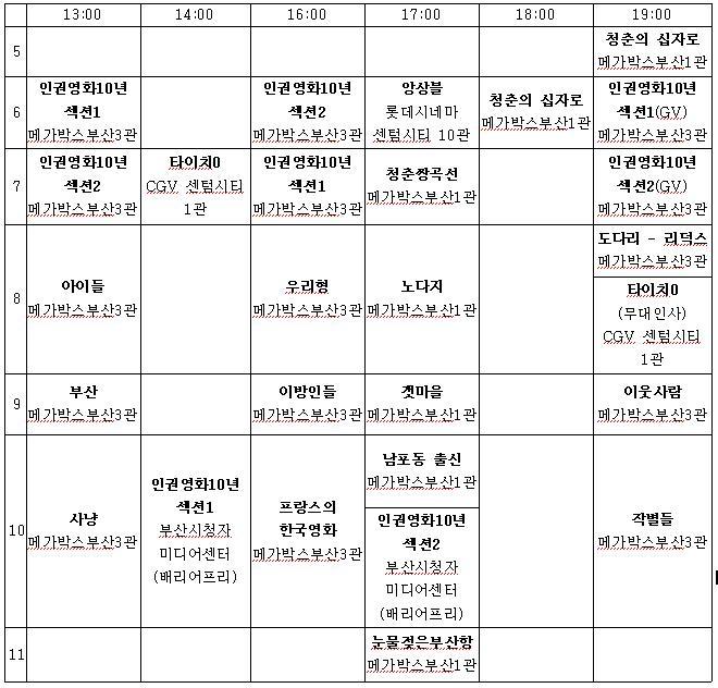 부산 국제 영화제 무료 상영작 시간표