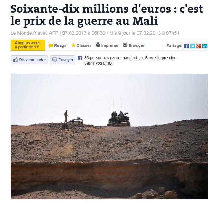 """""""프랑스의 말리 내전 개입 비용은?"""""""