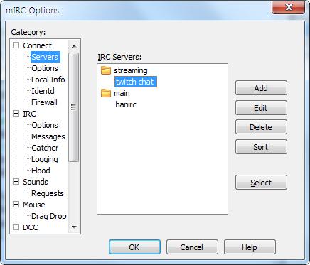 meannnnnnniii : Mirc 로 트위치 채팅 서버 접속 방법