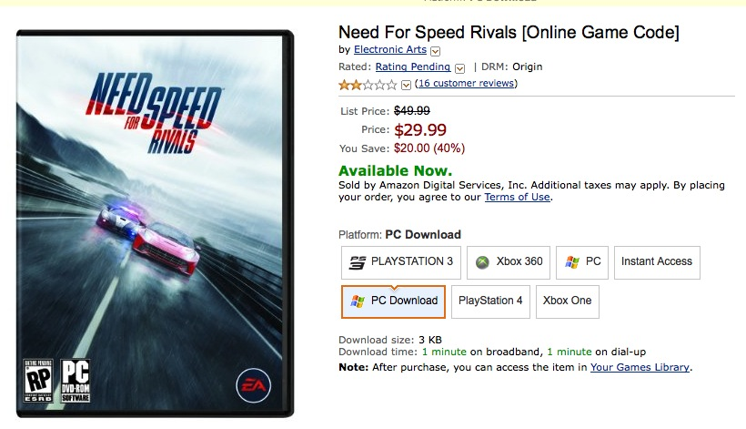 Need For Speed Rivals [Online Game Co..