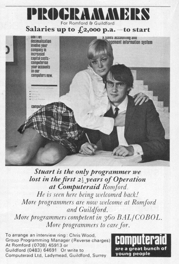 1970년 대 영국의 프로그래머 구인광고