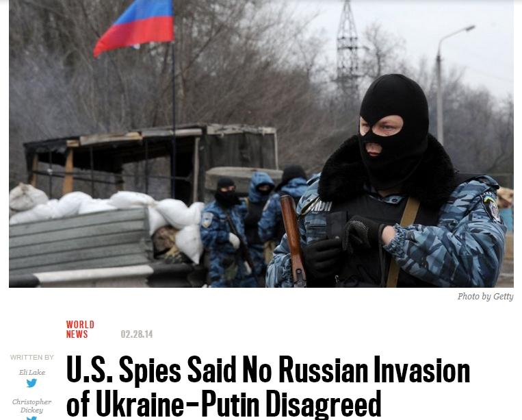 푸틴의 크림 기습과 미국의 정보실패..