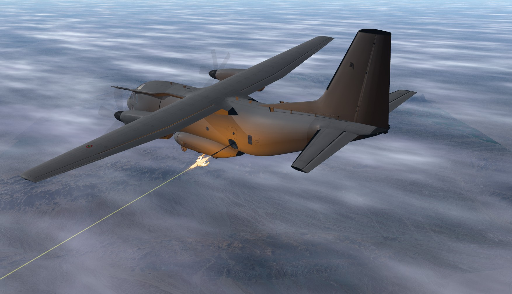 사격 테스트를 실시할 예정인 MC-27J 건십