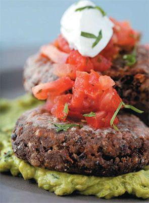 Black bean burgers with salsa and guacamo..