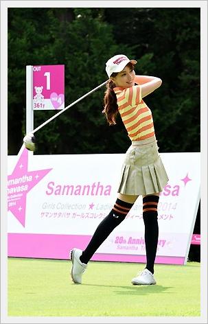 에비하라 유리, 골프 대회에서 미스샷에 수줍게 미소..