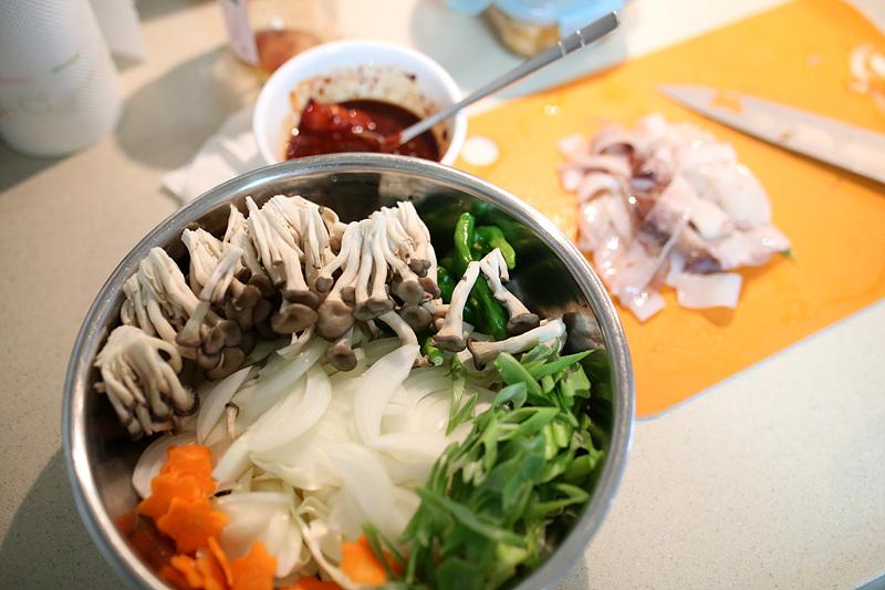 생물오징어 볶음 & 튀김