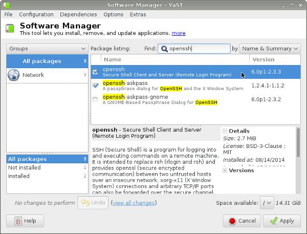 오픈수세(OpenSUSE) 리눅스에서 ssh 서버(..