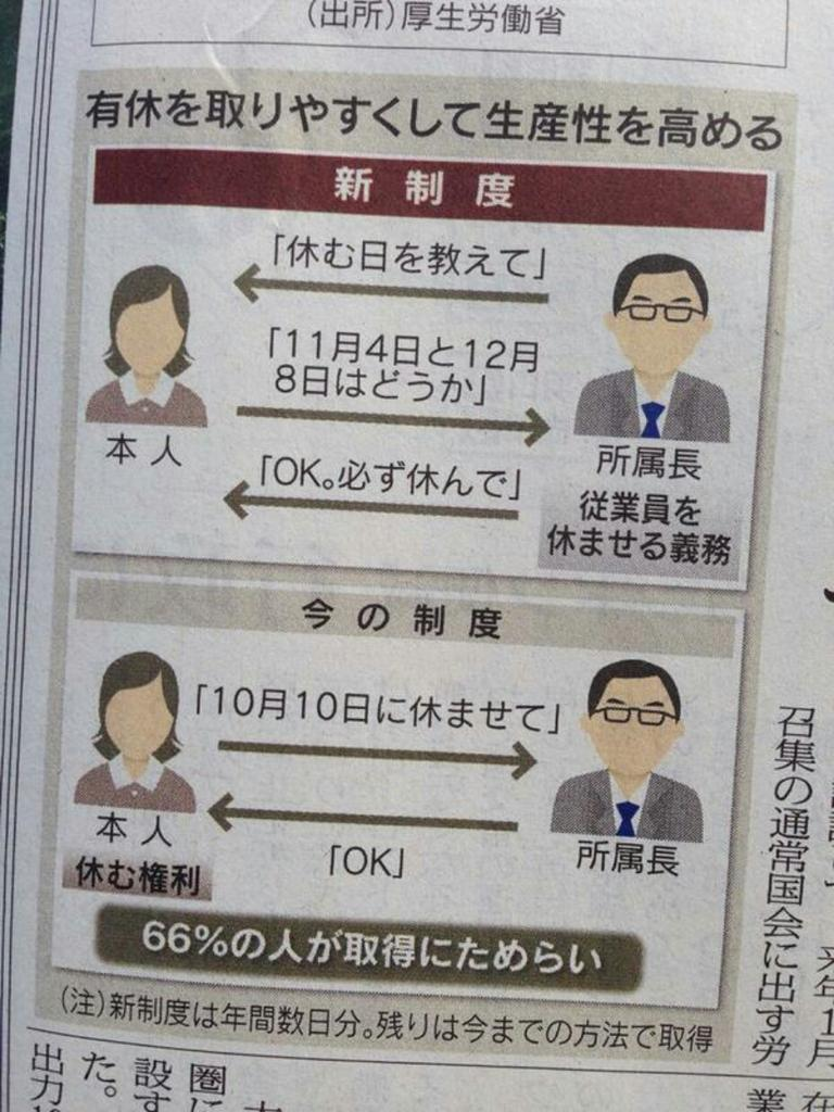 일본에서 유급 휴가가 쓰기 쉬워진다는 내용의 기사가..