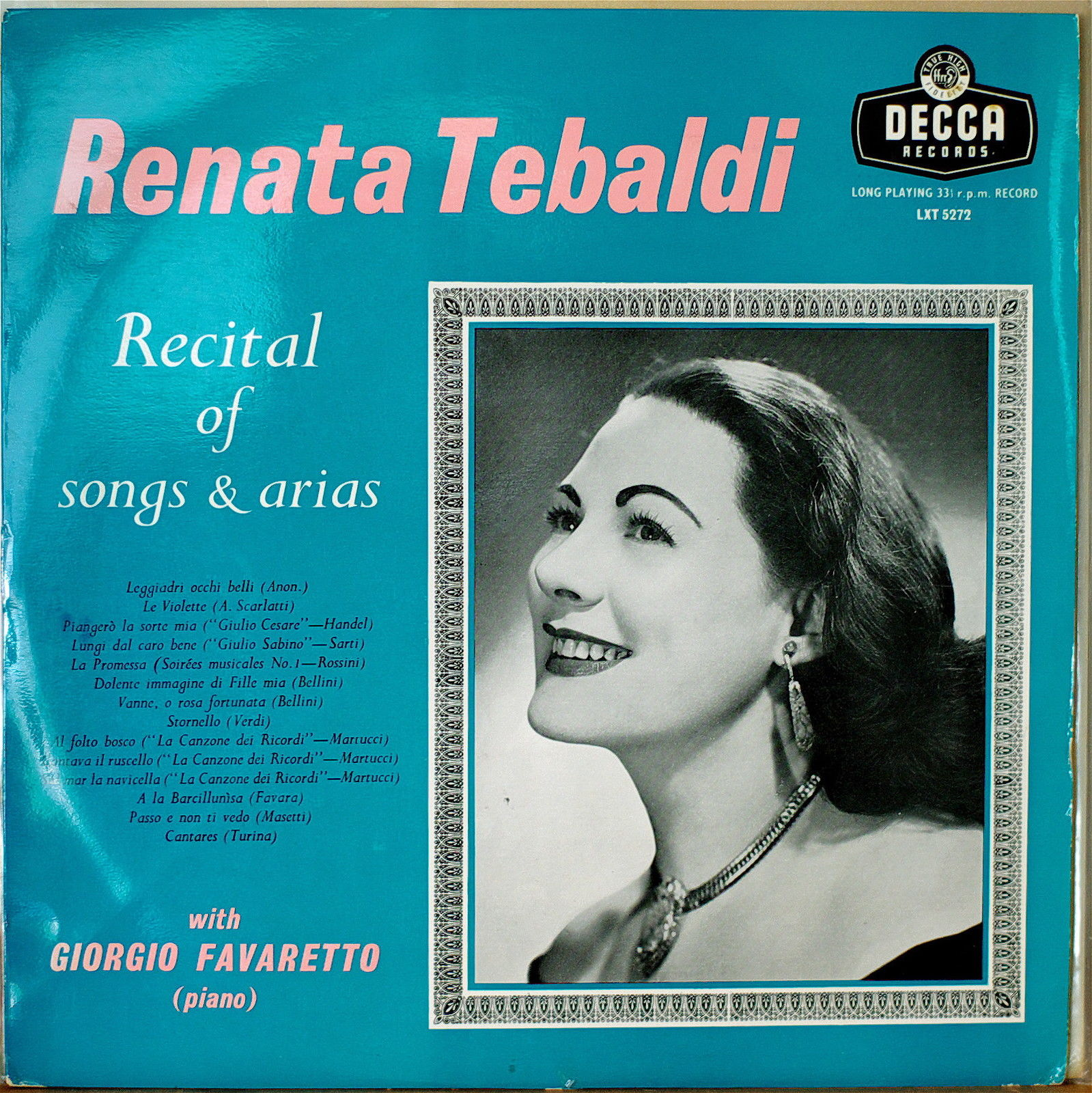 Renata Tebaldi; Recital with piano(Decca)