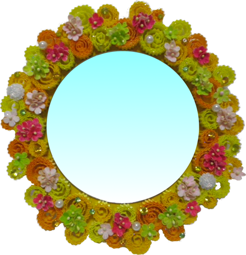 골판지공예-꽃리스거울