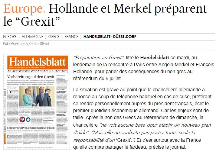 [독일]올랑드와 메르켈, 그렉시트를 준비하다!
