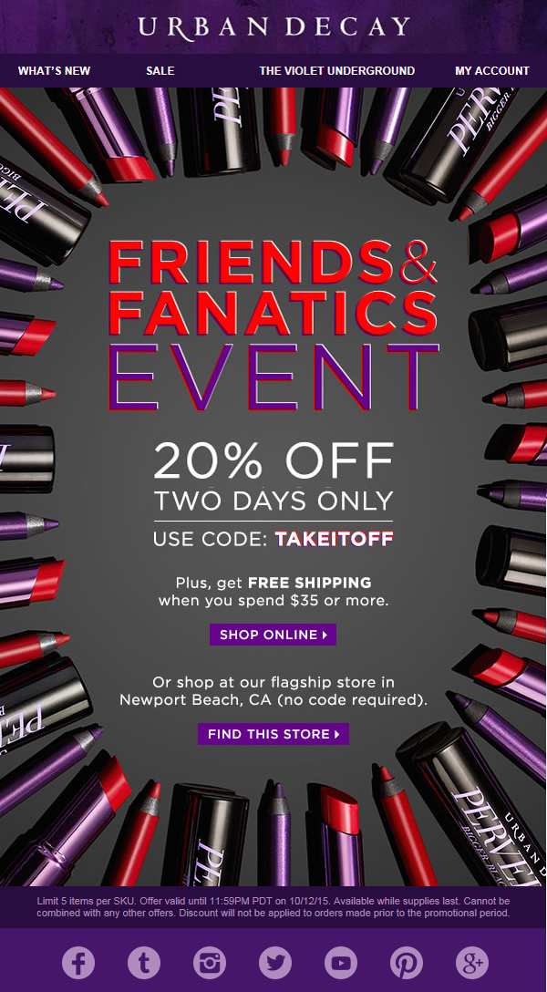 어반 디케이 Urban Decay 20% Friends & Fanat..