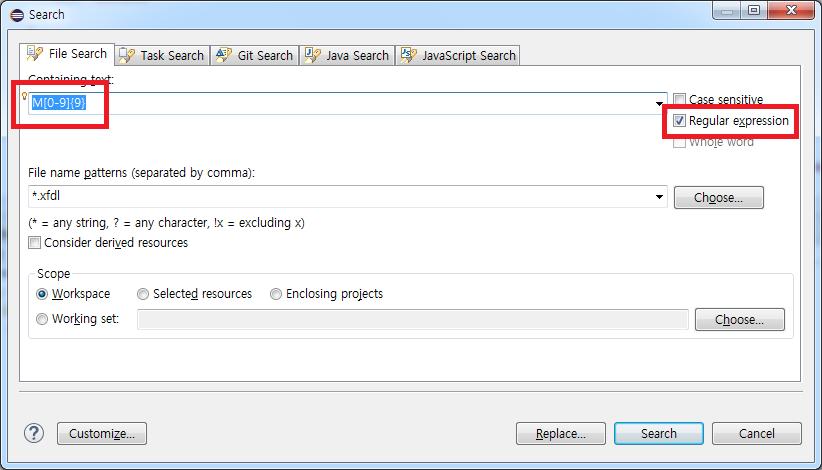 [Eclipse] 정규식을 사용하여 파일검색(File ..