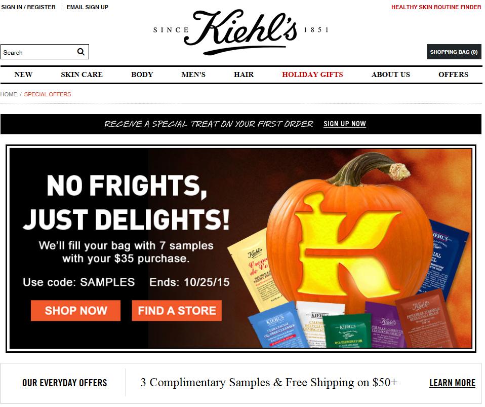 키엘 Kiehl's $35 이상 구매시 10개 샘플 무료 증정