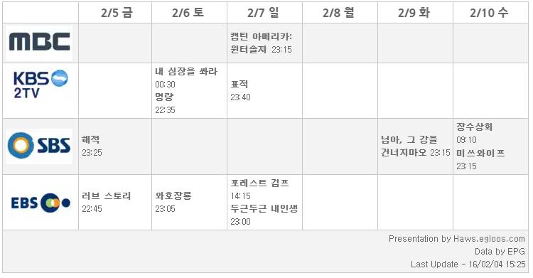 2016 설날특선영화 편성표