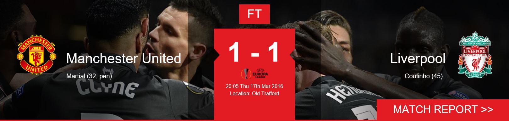 유로파리그 16강전 2차전 리버풀 VS 맨유