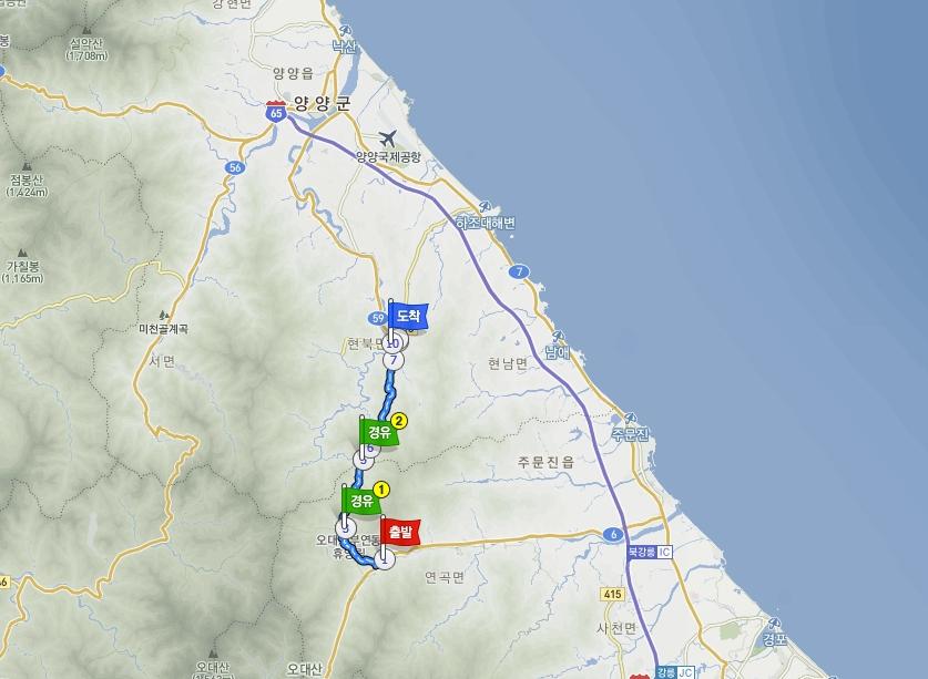 59번 국도 강원도 비포장 구간 주파기