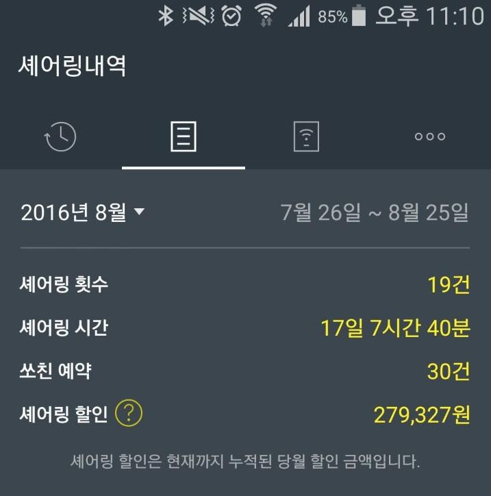 제로카 첫번째 할인액 정산 내역 공개