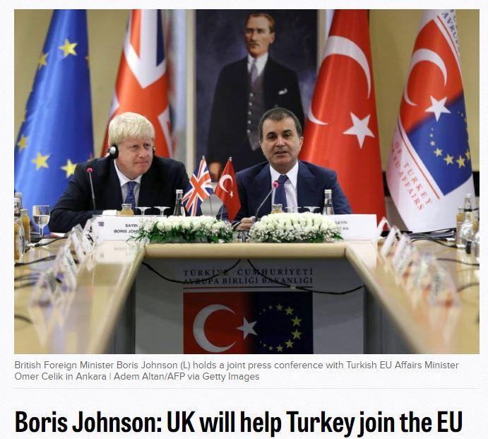 """영국, """"터키의 유럽연합 가입을 지지한다!"""""""