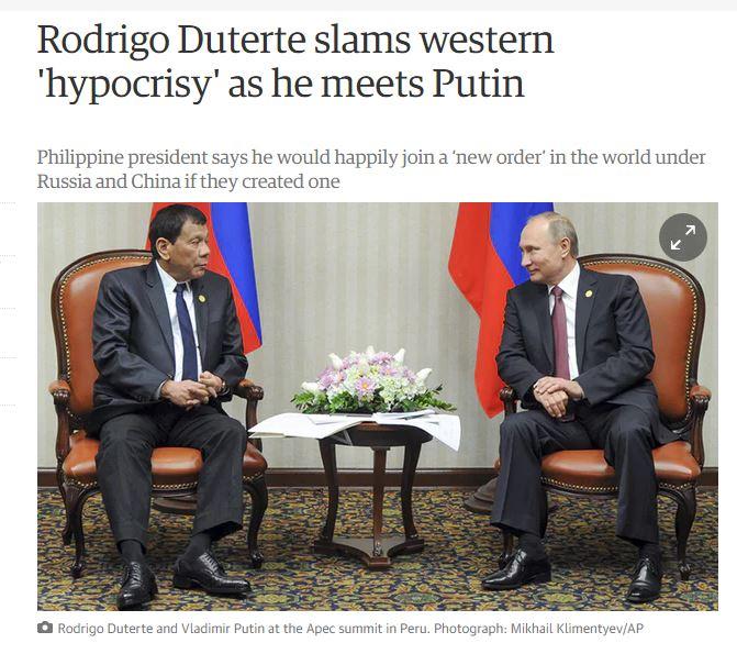 [필리핀]두테르테가 푸틴과의 회담에서 강조한 ..