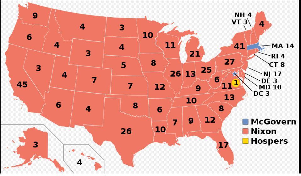 1972년 미국 대선,닉슨이 확보한 선거인단 수는?