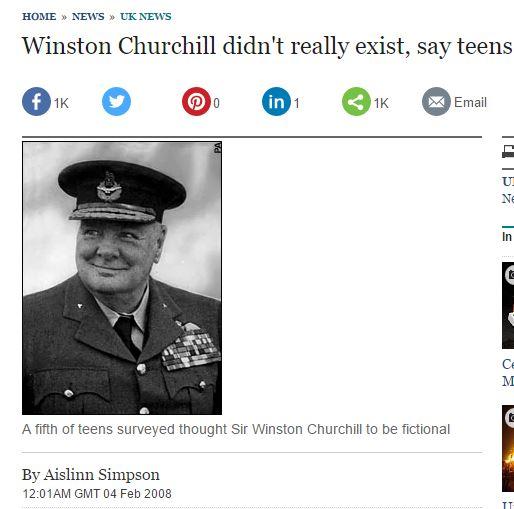 """[영국]""""윈스턴 처칠은 실존 인물이 아니다?"""""""