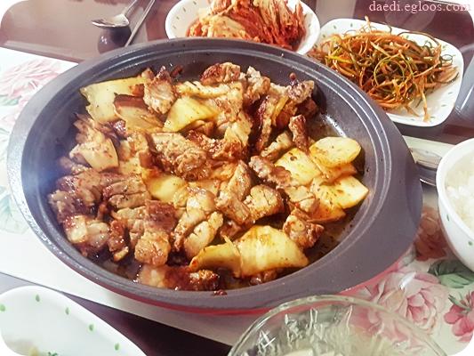 어제 저녁에 먹은 김치 삼겹살 구이