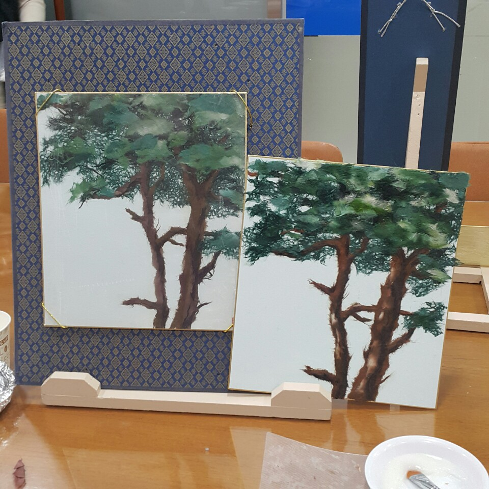 한지그림_소나무