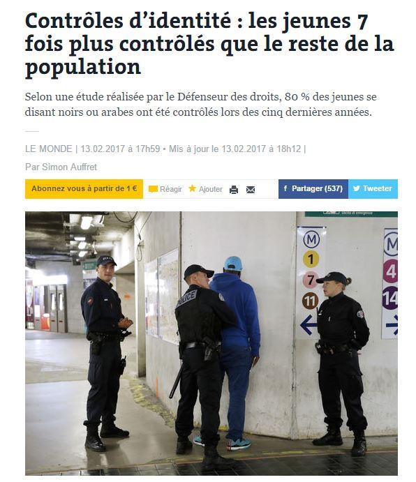 [프랑스]갈등의 불씨, 경찰의 신분증 검문?
