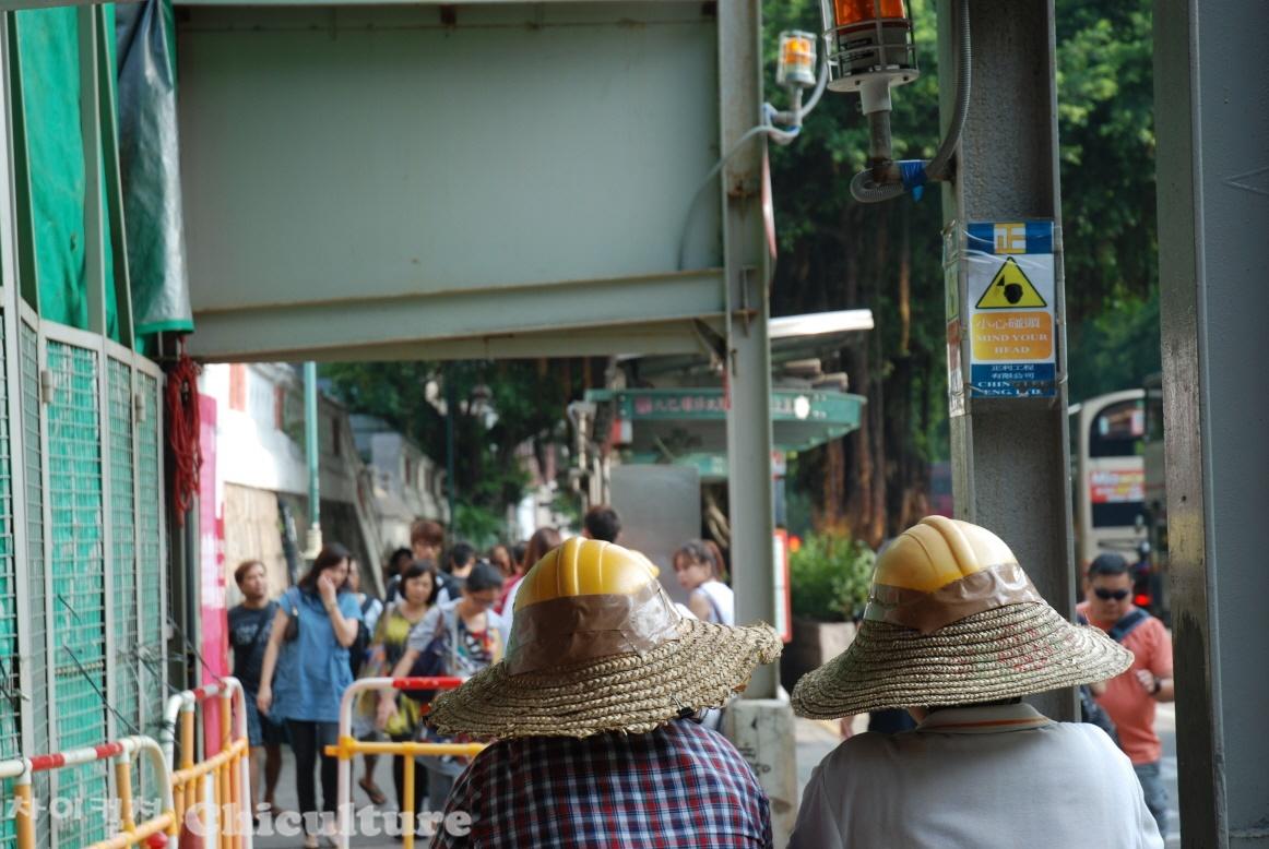 홍콩의 어느 길거리 작업인부의 재밌는 안전모