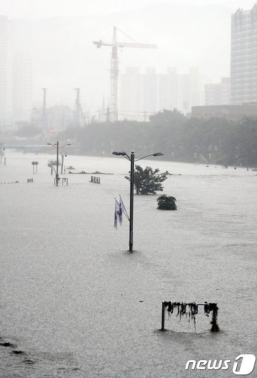 폭우에 부산 온천천 상황과 서구에서 자빠진 전신주