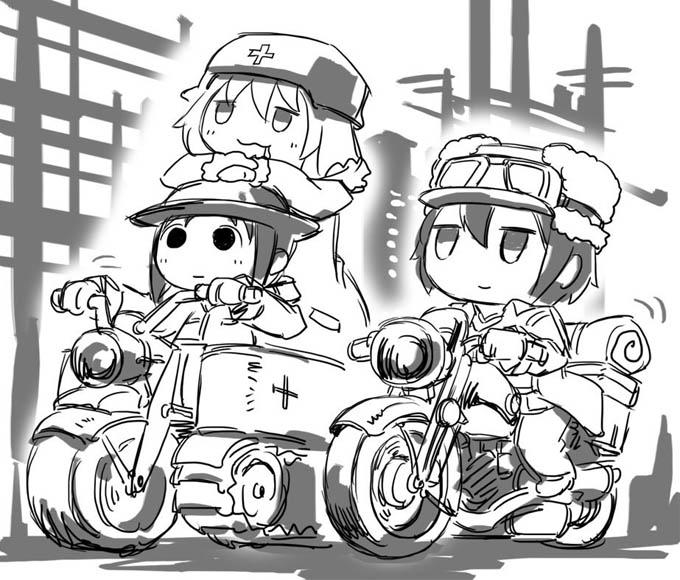 낡은 바이크로 여행하는 소녀들