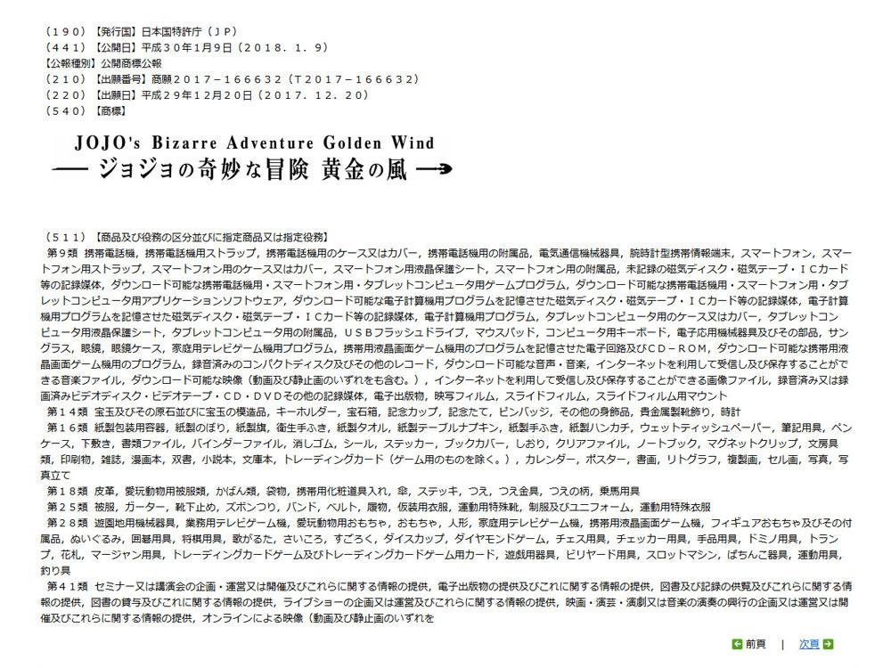 '죠죠의 기묘한 모험 - 황금의 바람' 상표 출원 사실..