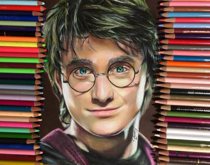 해리포터, 아이언맨 등을 색연필로 그린 그림이 ..