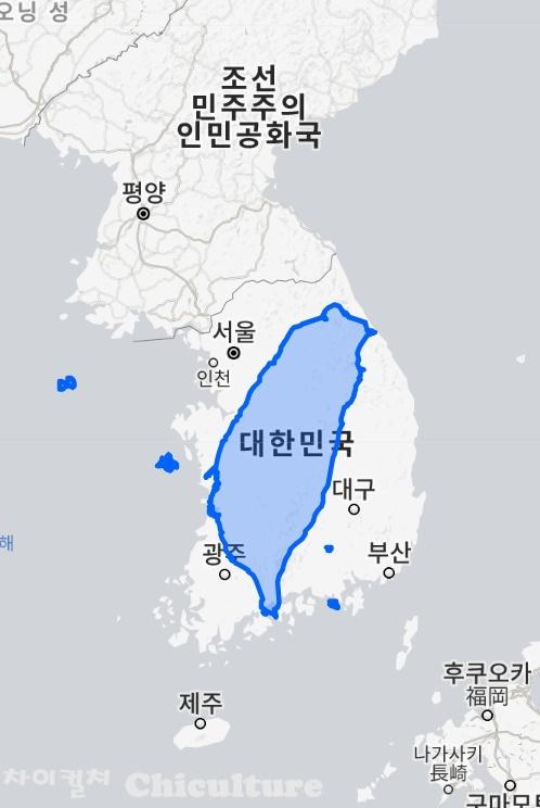 대만면적과 한국면적 비교 지도
