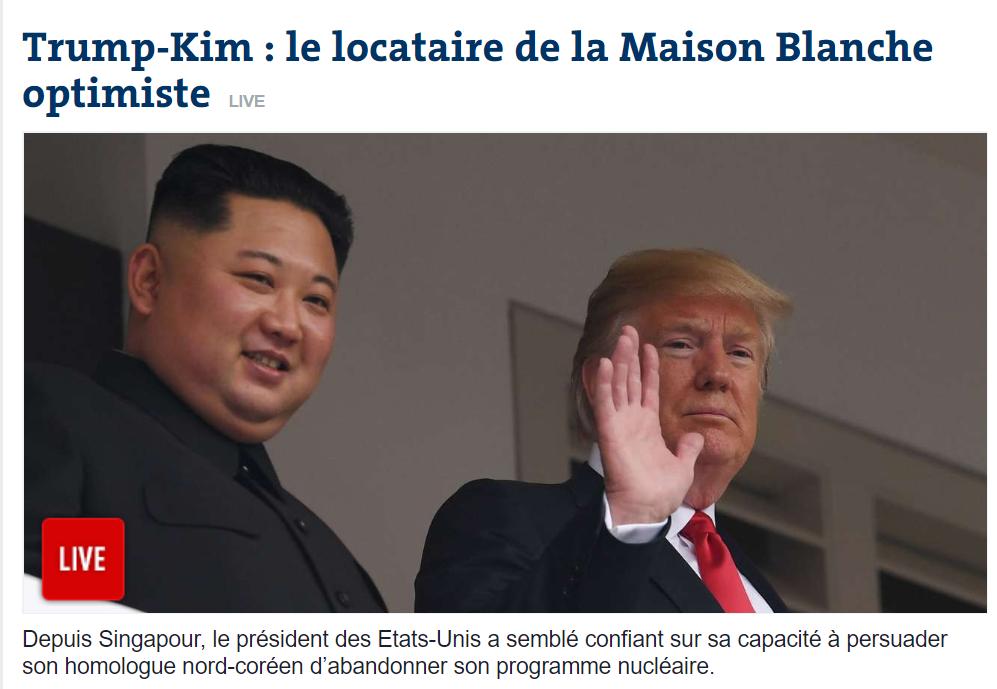 [르몽드]트럼프-김정은, 백악관 세입자는 낙..