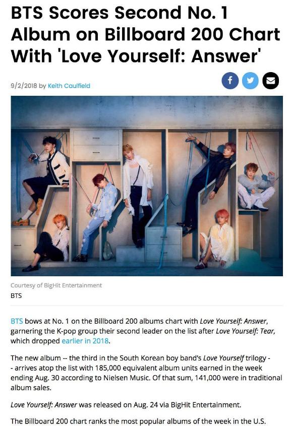 BTS, 빌보드200 Second No.1 확정 발표