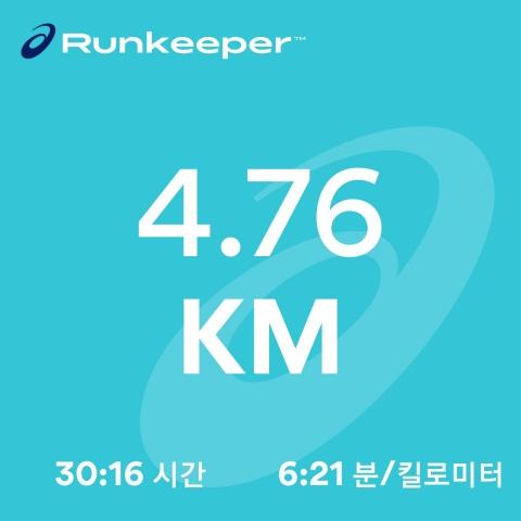 2018년 10월 29일의 달리기(30분)
